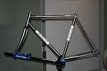 steel frame of 2000 lemond zurich road racing bicycle mounted on a workstand