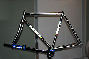 Bicycle frame - Steel frame of 2000 LeMond Zurich road racing bicycle mounted on a workstand