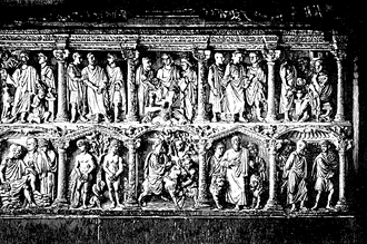 Early Christian sarcophagi - Engraving of the Sarcophagus of Junius Bassus.
