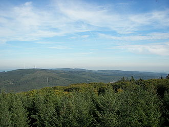 Bingen Forest - View from the Hochsteinchen over the Hunsrück to Bingen Forest
