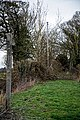 Blocked public footpath to All Saints Church, Berners Roding, Essex, England 02.jpg