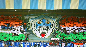 The 3D Blue Tiger tifo displayed by Blue Pilgrims in June 2018 BlueTiger tifo BluePilgrims 2018.jpg