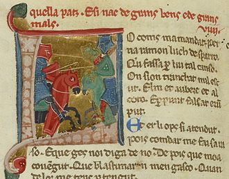 Bertran de Born - Bertran jousting, from a 13th-century manuscript