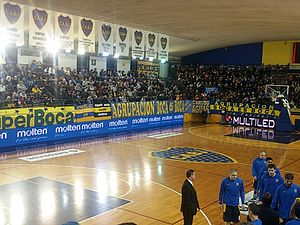 Boca Juniors (basketball) - Banners honoring the titles won by Boca Juniors, hanging in the Estadio Luis Conde