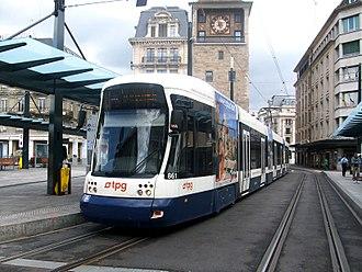 Trams in Geneva - A Flexity Outlook Cityrunner in Geneva.