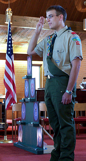 Uniform and insignia of the Boy Scouts of America - A Boy Scout in the 1980–2008 uniform designed by Oscar de la Renta