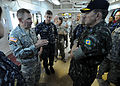 Brazilian military Gen. Floriano Peixoto, commander of United Nations Stabilization Mission in Haiti, listens to U.S. Army Lt. Gen. P.K. Keen, deputy commander of U.S. Southern Command and commanding general of 100311-N-HX866-022.jpg