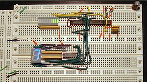 Dual in-line package - An operating prototyped circuit breadboard incorporating four DIP ICs, a DIP LED bargraph display (upper left), and a DIP 7-segment LED display (lower left).