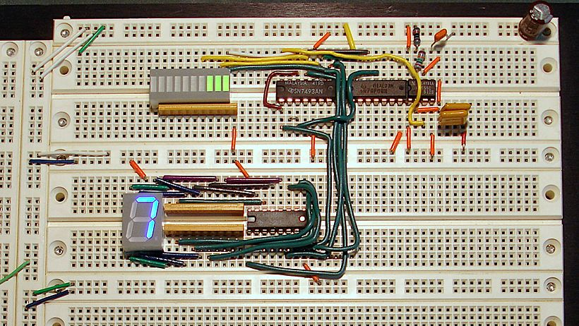An operating prototyped circuit on a solderless breadboard incorporating four DIP ICs, a DIP LED bargraph display (upper left), and a DIP 7-segment LED display (lower left). Breadboard counter.jpg