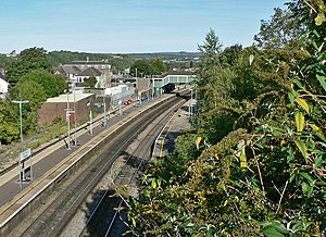 Bridgend station and railway from the Brackla Street bridge - geograph.org.uk - 1493736.jpg