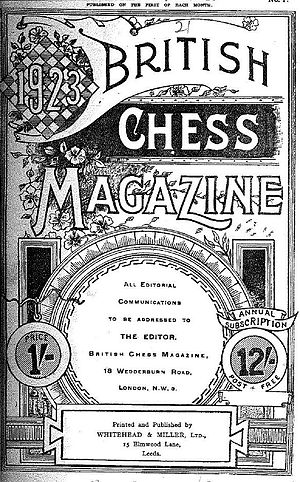 British Chess Magazine - Cover of a 1923 issue