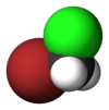 Spacefill model of bromochloromethane