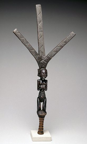 Luba art - Bow stand, from the collection of the Brooklyn Museum