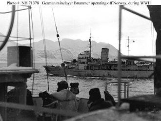 HNoMS Olav Tryggvason - Brummer off the coast of occupied Norway