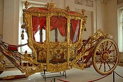 Coronation coach of Catherine the Great is exhibited in the Hermitage Museum, St. Petersburg