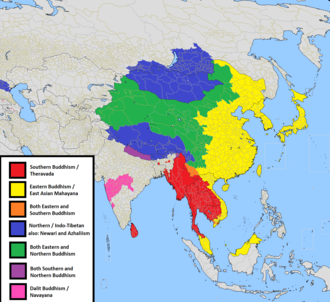 East Asian Buddhism - Distribution of major Buddhist traditions, East Asian Mahayana in yellow.