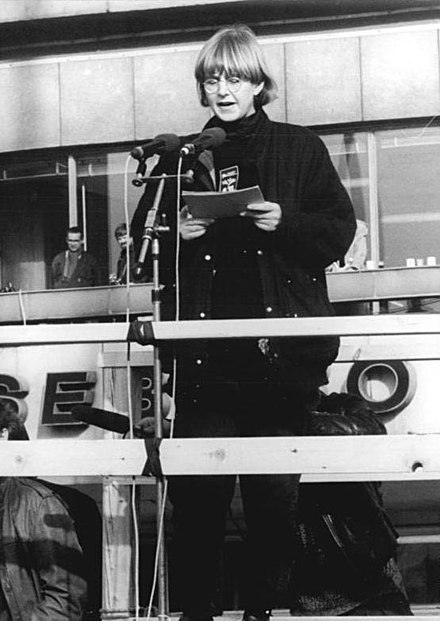 Birthler gives an address during the Alexanderplatz demonstration on 4 November 1989