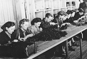 Arbeitseinsatz - Image: Bundesarchiv Bild 183 L12005, Polen, Zwangsarbeiter in Gewehrfabrik