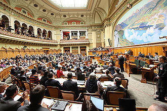 Swiss Federal Council - The Federal Council is elected by the Federal Assembly (photo of the 2006 election).