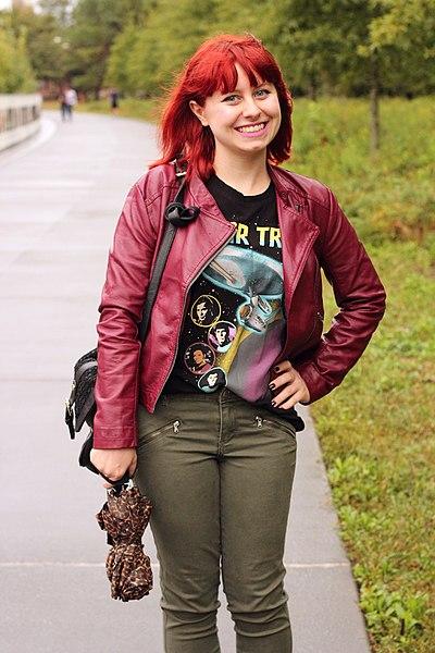 File:Burgundy Leather Moto Jacket, Star Trek Print T-Shirt, Green Jeans, and a Leopard Print Umbrella (22462910562).jpg