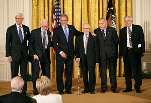 Harry L. Ettlinger - President George W. Bush presents the National Humanities Medal to the Monuments Men Foundation for the Preservation of Art. From left, Robert Edsel and World War II veterans Jim Reeds, Seymour Pomrenze, Harry L. Ettlinger, and Horace Apgar (2007).