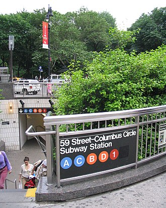 59th Street–Columbus Circle (New York City Subway) - Station entrance north of Columbus Circle