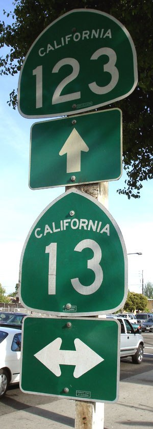 State highways in California - Route shield signs at the intersection of SR 123 and SR 13 in Berkeley