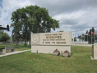 CFB Winnipeg - Sign at the entry to CFB Winnipeg, where 17 Wing, Canadian Air Force, is currently based.