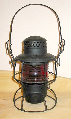 Railroadiana - A brakeman's lantern from the Chicago and North Western Railway.  Lanterns like this are a common type of railroadiana.