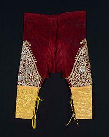 Sarouel en velours de soie brodé de fil d\u0027argent doré.