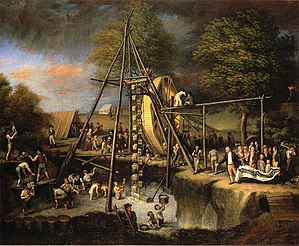 Mastodon - Exhuming the First American Mastodon, 1806 painting by Charles Willson Peale