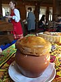 Cabbage soup in a pot with a 'bread hat'.jpg