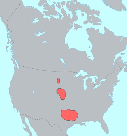 Approximate distribution of Caddoan-speakers in the early 1800s Caddoan langs.png