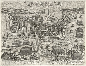Siege of Calais (1596) - Engraving of the Siege of Calais of 1596. Collection Rijksmuseum Amsterdam.