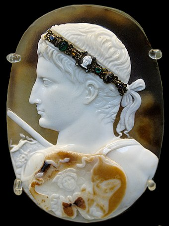 The Blacas Cameo showing Augustus wearing a gorgoneion on a three layered sardonyx cameo, AD 20-50 Cameo August BM Gem3577.jpg