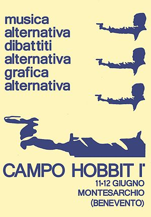 "Italian Social Movement - Poster of ""Campo Hobbit"", a rally of the MSI youth-wing."