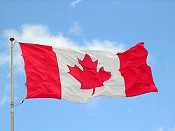 The Canadian flag flying at the Maritime Museum of the Atlantic, located at Halifax, Nova Scotia