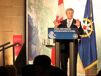 HMS Erebus (1826) - Canadian Prime Minister Stephen Harper appearing at a gala to celebrate the discovery of HMS Erebus, one of two ships wrecked during John Franklin's lost expedition, at the Royal Ontario Museum in Toronto