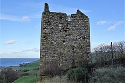 Carleton Castle tower ruins from the south-east, Little Carleton Farm, Lendalfoot, South Ayrshire.jpg