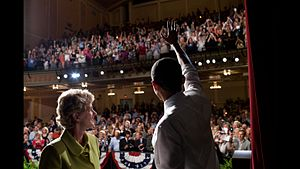 Robin Carnahan - Carnahan with Barack Obama at the Folly Theater in Kansas City on July 8, 2010