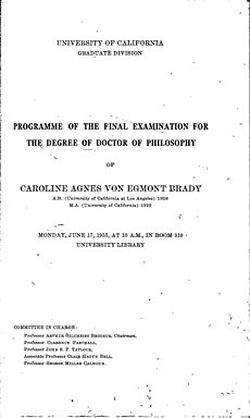 Black and white scan of the program for Caroline Brady's dissertation defense