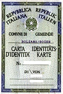 Carta identita Alto Adige