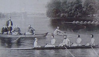 Herbert Playford - Playford is stroking the eight in the foreground with Potter, Paine and Nottidge in the seats behind him. His brother Francis Playford is standing in the boat on the left.