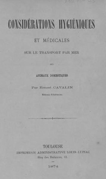 File:Cavalin - Considérations hygiéniques et médicales sur le transport par mer des animaux domestiques.djvu