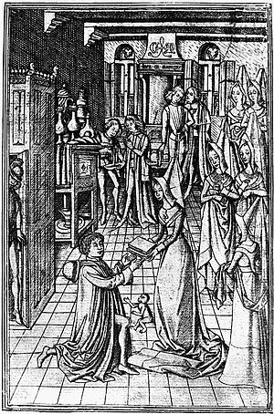 Recuyell of the Historyes of Troye - Presentation engraving showing William Caxton presenting a copy of Recuyell of the Historyes of Troye to Margaret of York