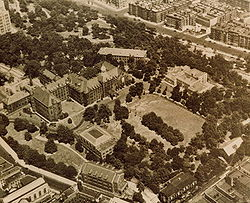1950's aerial view of the old South Campus of City College, bought in 1953 from Manhattanville College of the Sacred Heart. The photo is taken from the south looking northeast.