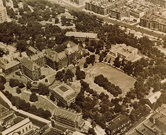 Manhattanville College - An aerial photo of the former campus of the Manhattanville College of the Sacred Heart in the Manhattanville section of northwestern Manhattan in  New York City, taken from the south looking northeast.
