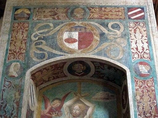 Chiesa dei Santi Tommaso e Prospero, Tabernacolo dei Giustiziati, martirio di San Sebastiano e stemma Certaldo