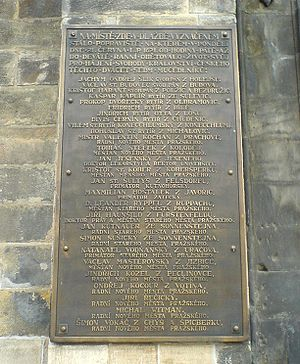 Old Town Square execution - Memorial plaque with names of those executed