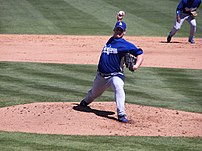Los Angeles Dodgers pitcher Chad Billingsley p...